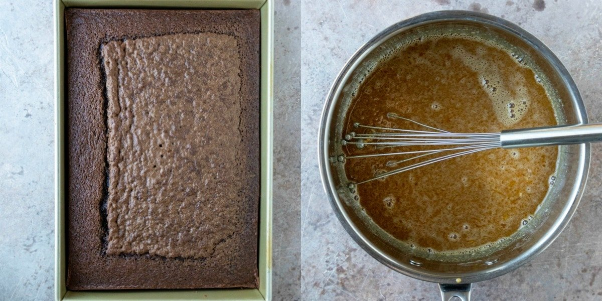 Baked german chocolate cake in a baking pan