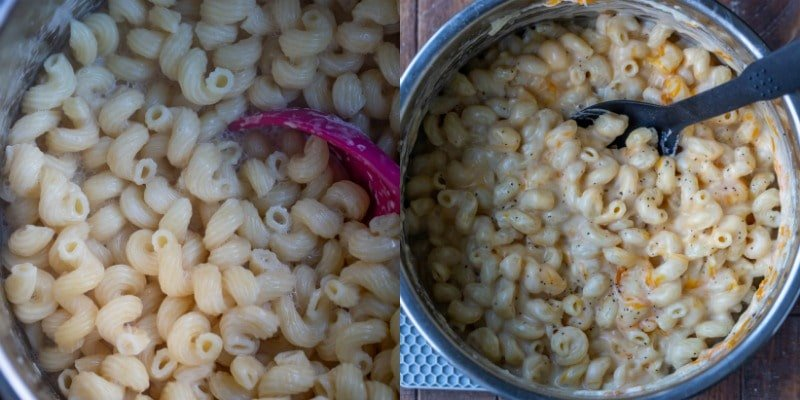 Cooked pasta in an instant pot inner liner