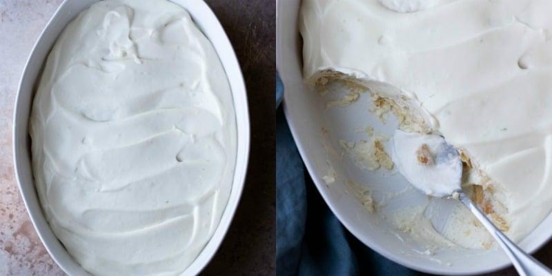 No Bake Key Lime Pie in a white ceramic baking dish
