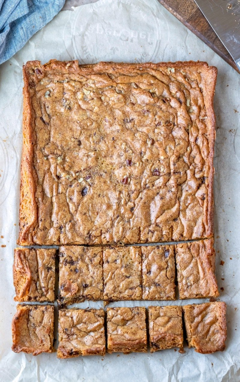 Pan of blondies on parchment paper