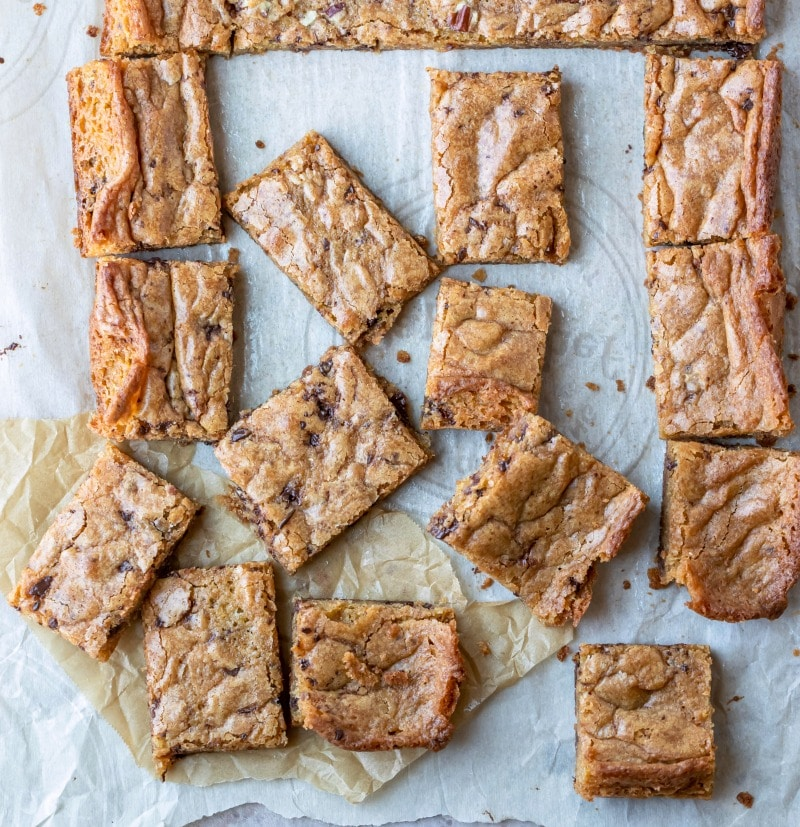 Blondies on brown and white parchment paper