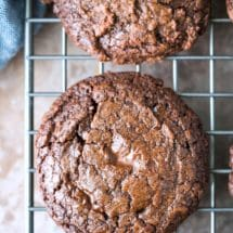 Chocolate Fudge Cookie on a wire cooling rack