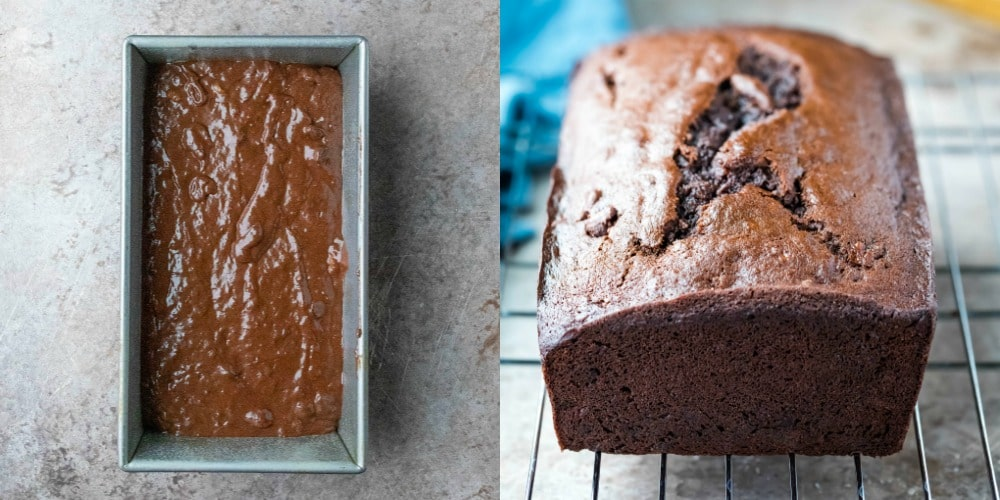 Chocolate banana bread batter in a loaf pan