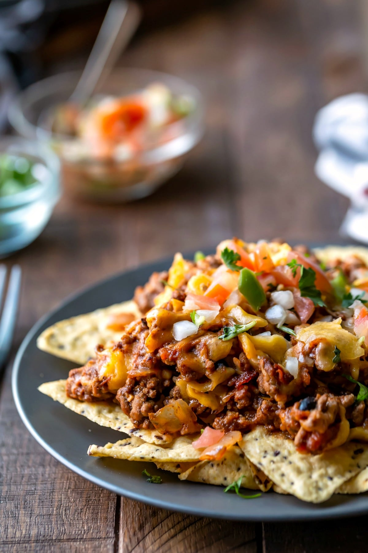 Taco casserole on tortilla chips