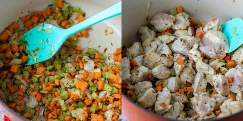 Diced vegetables and spices in a Dutch oven