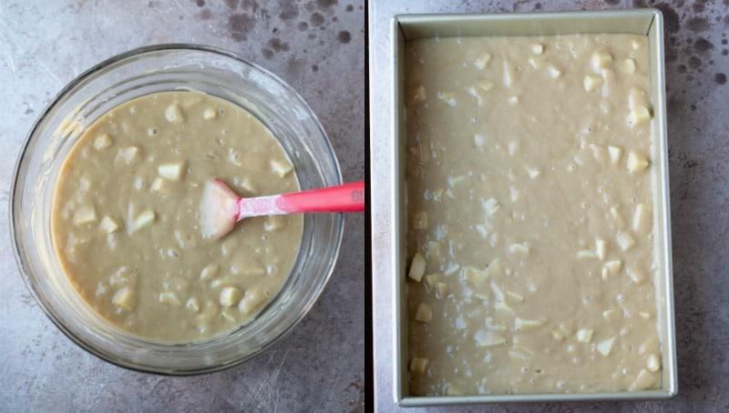 Cinnamon apple cake batter in a 9x13 pan