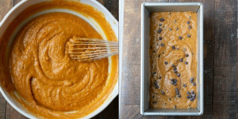 pumpkin chocolate chip bread batter in a white mixing bowl
