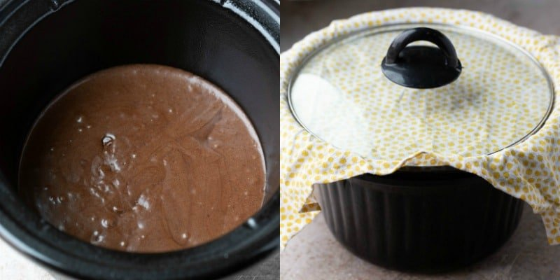 Slow cooker brownie batter in a crockpot insert