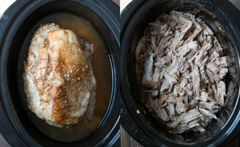 Cooked pork in a crockpot insert