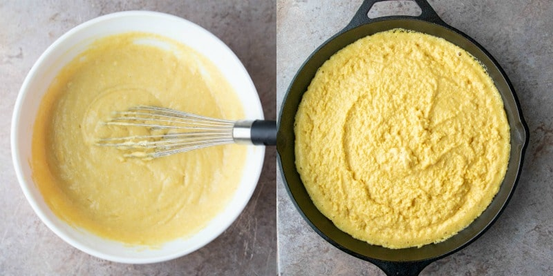 cornbread batter in a white mixing bowl