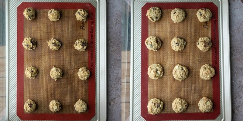 Cranberry oatmeal cookie dough on a baking sheet
