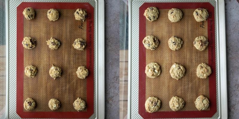 Cranberry oatmeal cookie dough on a baking sheet