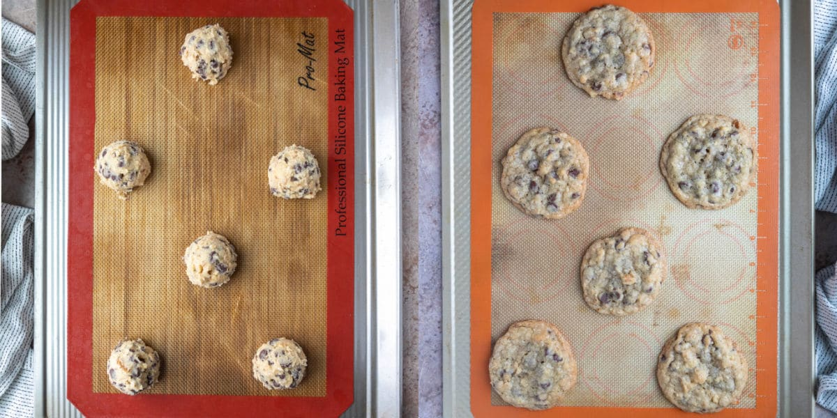 scoops of doubletree chocolate chip cookie dough on a baking sheet