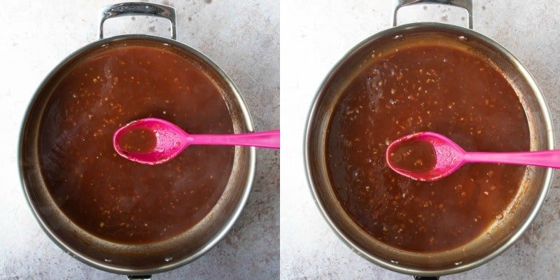 Reduced orange chicken sauce in a silver saucepan