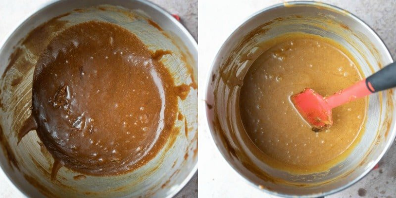 Gingerbread cookie batter in a silver mixing bowl