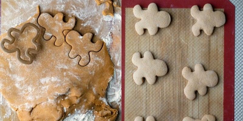 Cut out gingerbread men cookie dough