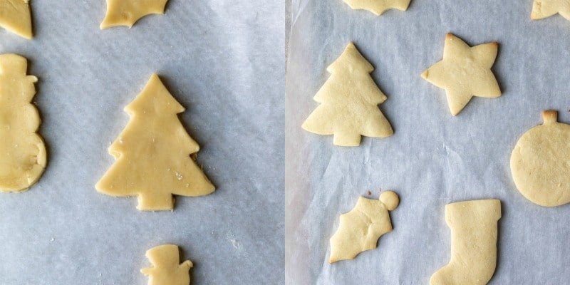 Unbaked sugar cookies on a piece of parchment paper