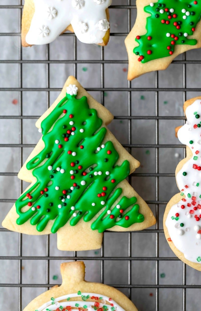 Tree shaped sugar cookie with green icing