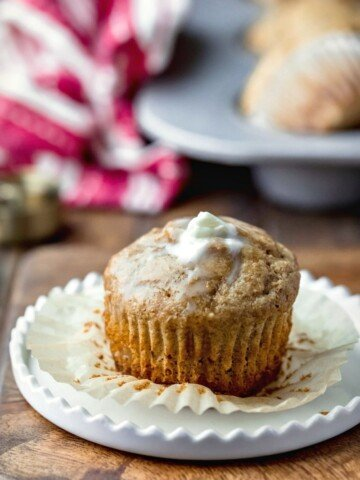 Bran muffin with a pat of melting butter on top