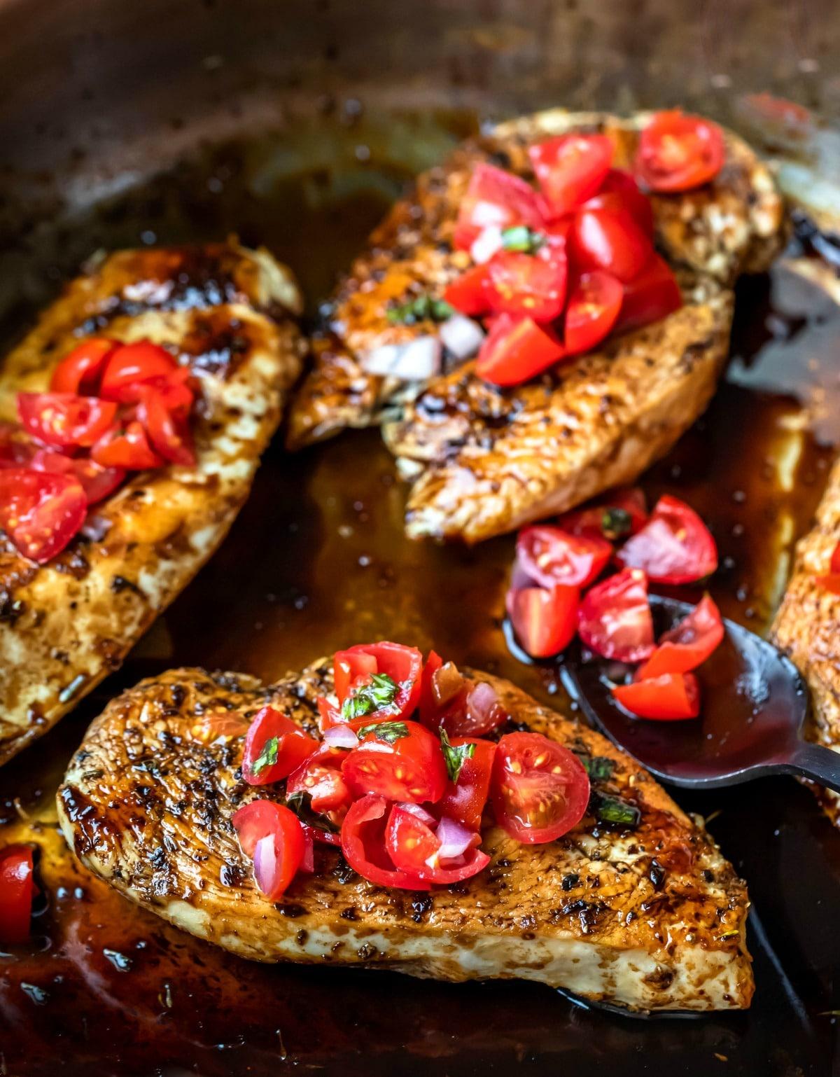 Bruschetta chicken in balsamic glaze