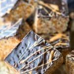 Butterscotch Rice krispie treat on an angle