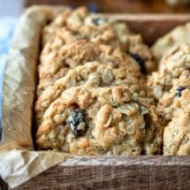 Oatmeal raisin cookies in a wooden box