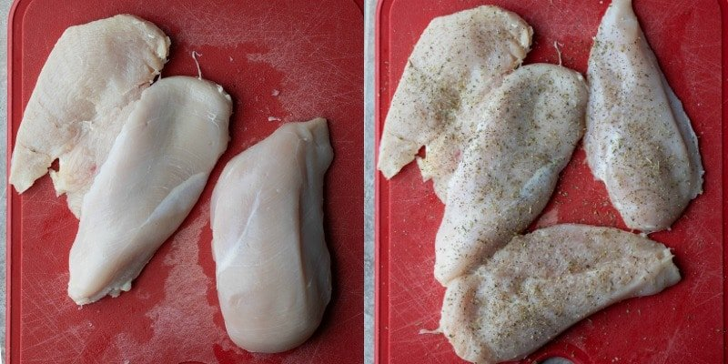 Chicken breast sliced in half and seasoned