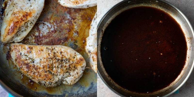 Balsamic glaze in a silver saucepan