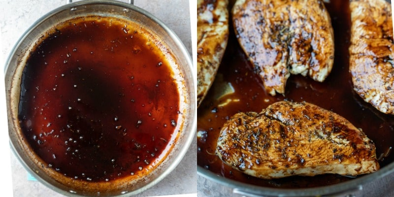 Cooked chicken breast in balsamic glaze