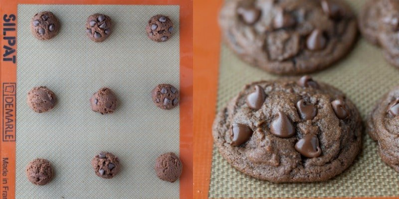 Chocolate chocolate chip cookie dough on a silicone baking mat