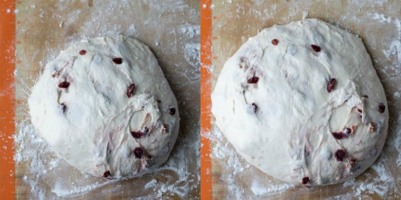 No knead cranberry nut bread dough on a silicone baking mat