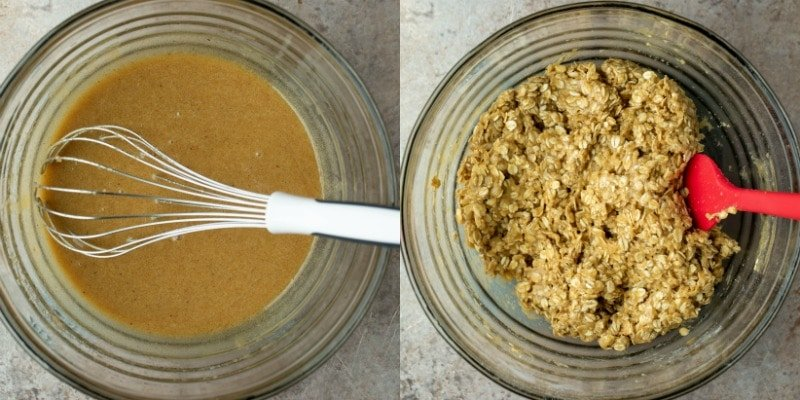 Oatmeal cookie dough in a glass mixing bowl
