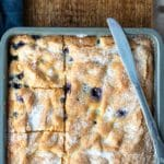 blueberry cake in an 8x8 pan