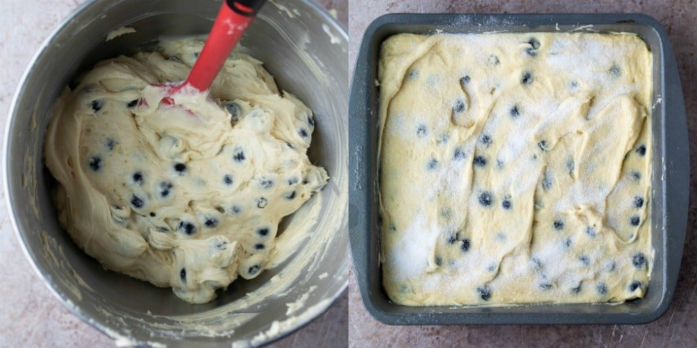 Blueberry cake batter in a baking pan