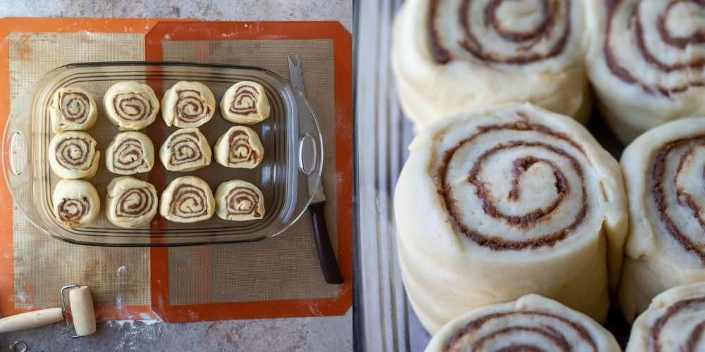 Unrisen cinnamon rolls in glass pan
