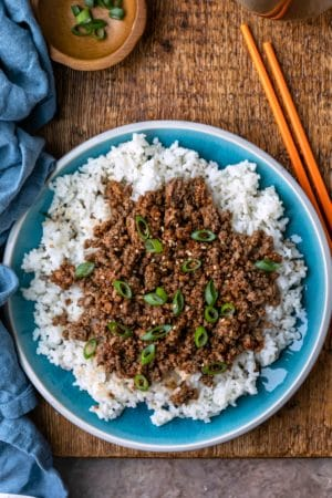 Korean ground beef on top of white rice