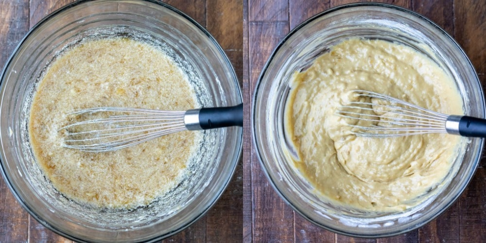 Banana bread batter in a glass mixing bowl