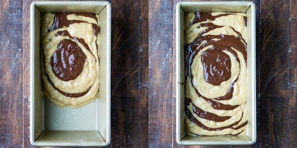Unbaked marbled banana bread batter in a gold pan