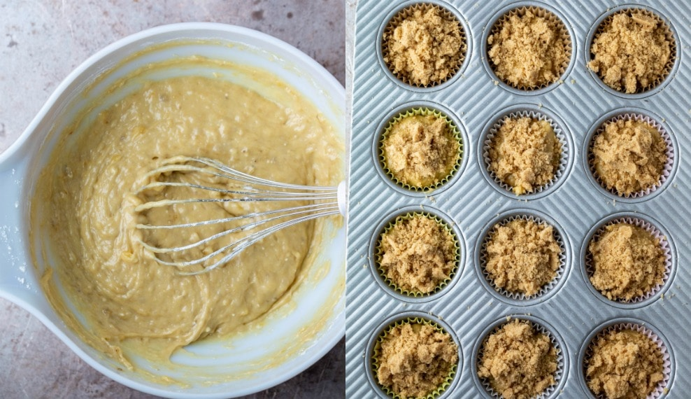 banana crumb muffin batter in a white mixing bowl