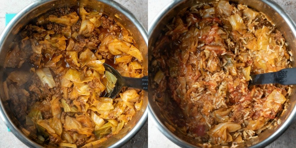 Cooked cabbage and beef in tomato sauce