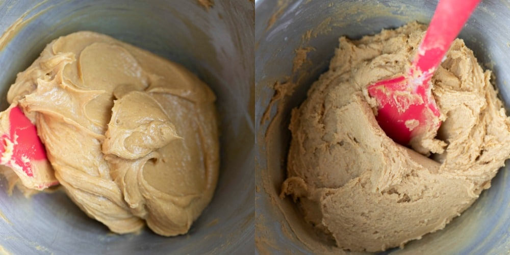 Mixed butter and peanut butter in a mixing bowl
