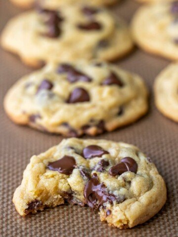 Chocolate chip pudding cookie with a bite out of it