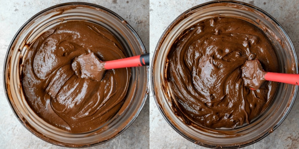 Chocolate cake batter in a glass mixing bowl