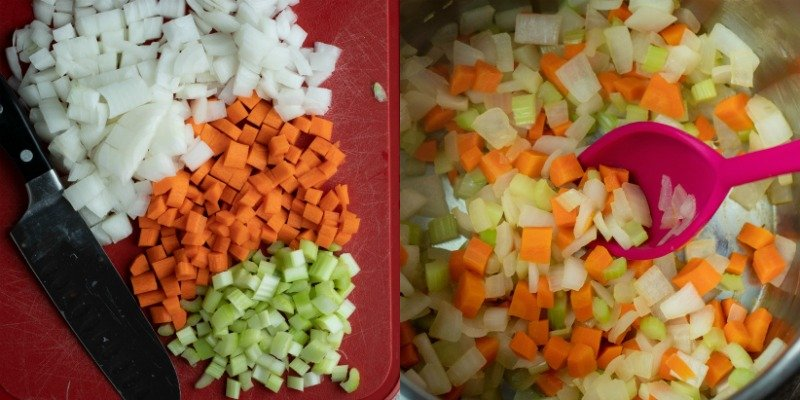 Chopped onion carrots and celery on a cutting board