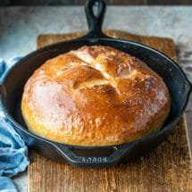 Loaf of bread in a cast iron skillet