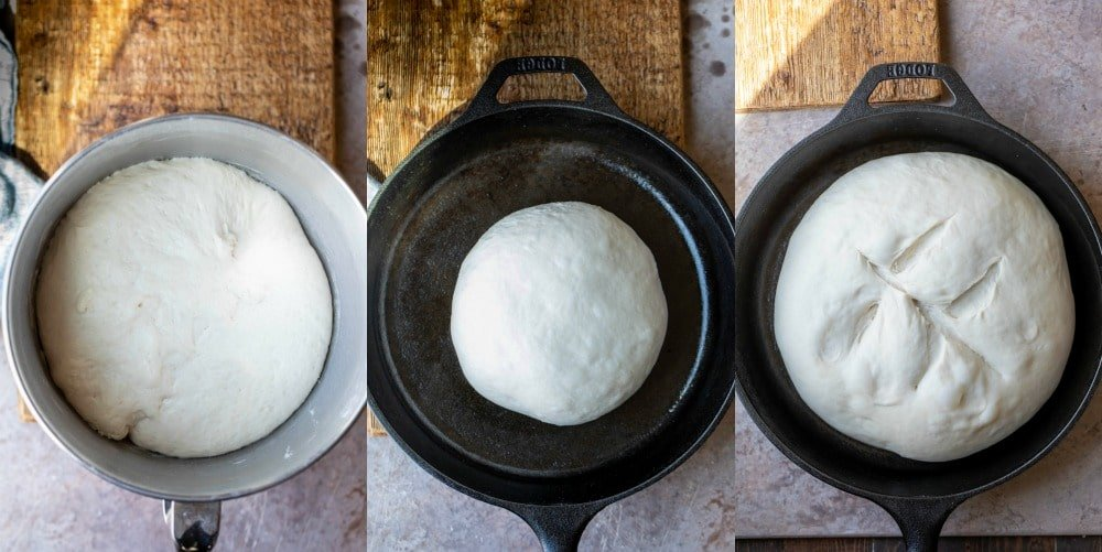 bread dough rising in a cast iron skillet