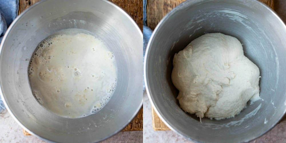 Proofed yeast in a silver mixing bowl