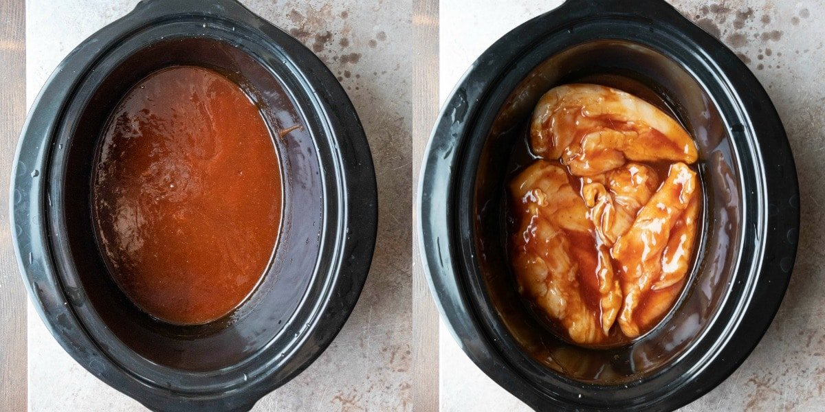 Raw chicken in bbq sauce in a slow cooker insert