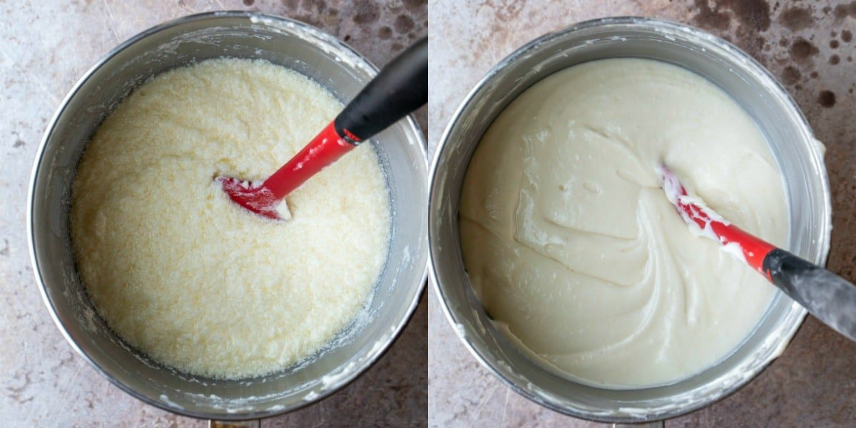 Vanilla cake batter in a silver mixing bowl