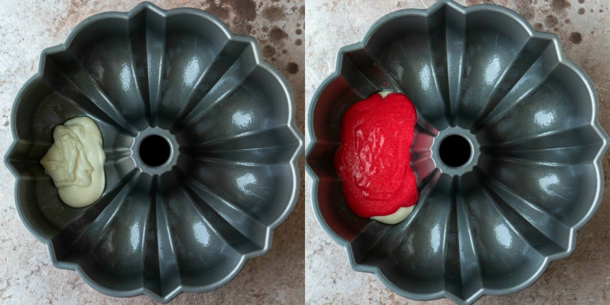 Red and white cake batters in a bundt pan